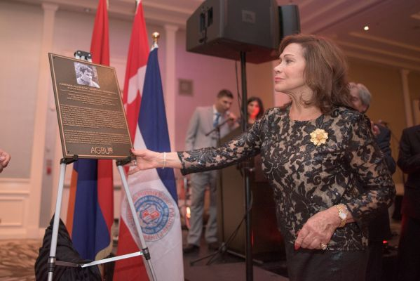 Mrs. France Kandaharian Unveiling Plaque of her brother and Hall of Famer - Mr. Armenak Alajajian